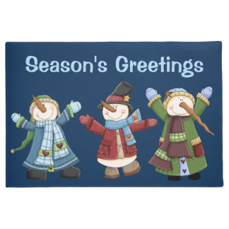 Happy Trio of Snowmen Holiday Door Mat