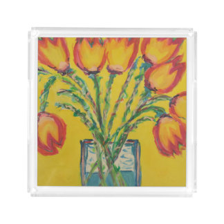 Happy Tulips Acrylic Tray