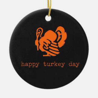 Happy Turkey Day Color Chalkboard Round Ceramic Decoration