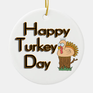 Happy Turkey Day Thanksgiving Double-Sided Ceramic Round Christmas Ornament