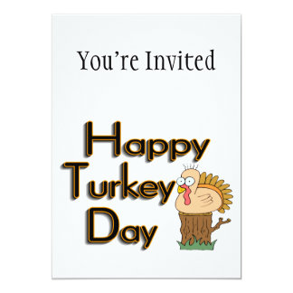 Happy Turkey Day Thanksgiving 5x7 Paper Invitation Card