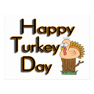 Happy Turkey Day Thanksgiving Postcard