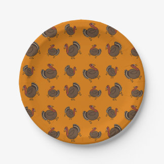 Happy Turkey Pattern Fun Thanksgiving Buffet Party Paper Plate