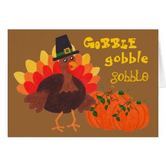 Happy Turkey & Pumpkins - Greeting Card