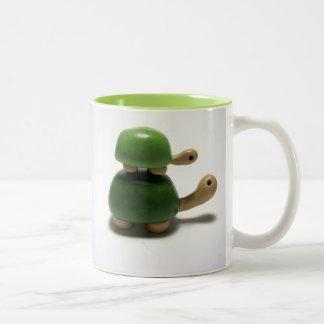 happy turtle Two-Tone coffee mug