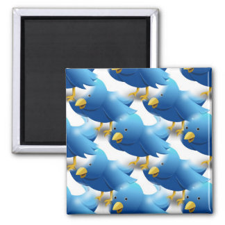 Happy Tweeting Twitter Icon Square Magnet