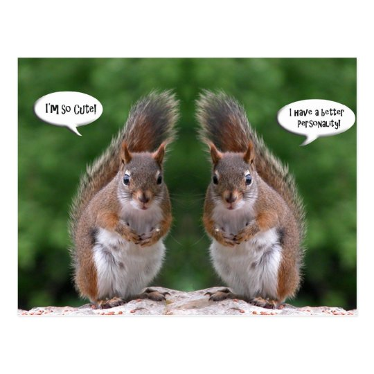 Happy Twins Day, Red Squirrel Humour, Cute and Postcard