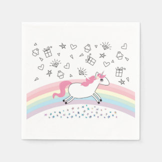 Happy unicorn birthday party paper napkins disposable serviette