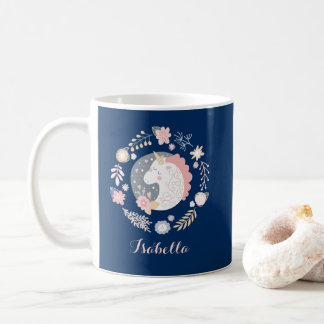 Happy Unicorn Cute Personalized Navy Coffee Mug
