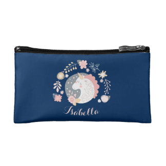 Happy Unicorn Cute Personalized Navy Cosmetic Bag
