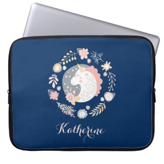 Happy Unicorn Cute Personalized Navy Laptop Sleeve
