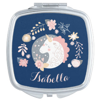 Happy Unicorn Cute Personalized Navy Mirror For Makeup