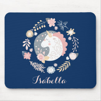 Happy Unicorn Cute Personalized Navy Mouse Pad