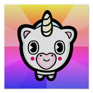 Happy Unicorn Emoji Color Burst Poster