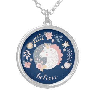 Happy Unicorn Inspiring Believe Silver Plated Necklace