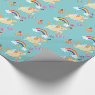 Happy Unicorn with Rainbow Clouds and Flowers Wrapping Paper
