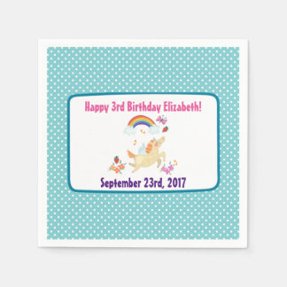 Happy Unicorn with Rainbow Clouds Birthday Disposable Serviettes