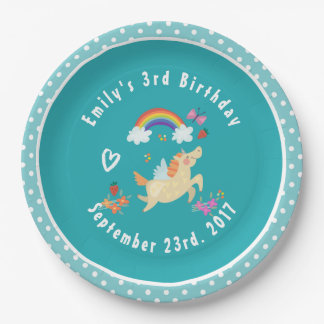 Happy Unicorn with Rainbow Clouds Birthday Paper Plate