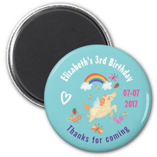 Happy Unicorn with Rainbow Clouds Birthday Thanks 6 Cm Round Magnet