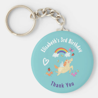 Happy Unicorn with Rainbow Clouds Birthday Thanks Key Ring