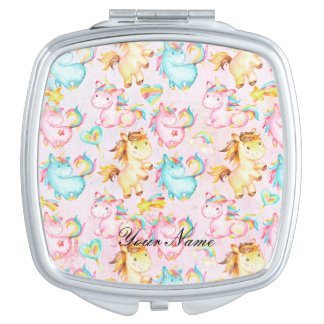 Happy Unicorns Pattern-Unicorn Love in Pink Makeup Mirror