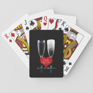 Happy Valentine Champagne Flute Red Heart Text Playing Cards
