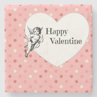 Happy Valentine heart polka dots pink illustration Stone Beverage Coaster