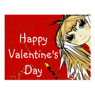 Happy Valentine s Day- Cute Girl Postcards