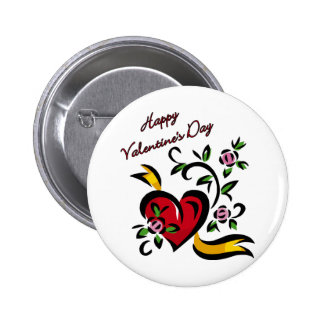 Happy Valentine s Day Heart and Flowers Abstract Pin