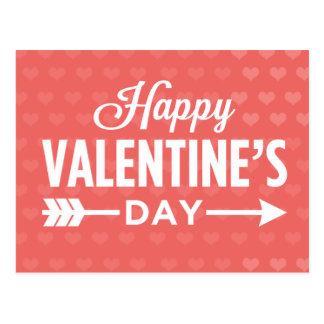 Happy Valentine s Day Hearts Arrow Postcards