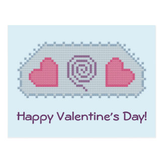 Happy Valentine s Day Hearts Spiral Postcard