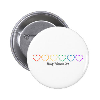 Happy Valentine s Day LGBT Rainbow Hearts Button