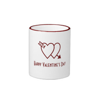 Happy Valentine s Day mug - double hearts