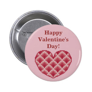 Happy Valentine s Day Pink Heart Button