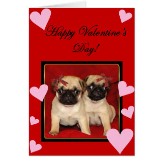 Happy Valentine s day Pugs greeting card
