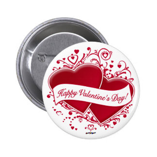 Happy Valentine s Day Red Hearts Button