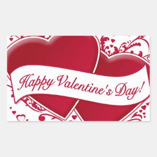 Happy Valentine s Day Red Hearts Rectangular Sticker