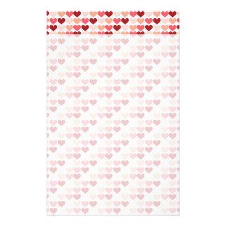 Happy Valentine s Day Red Pink Hearts Pattern Custom Stationery