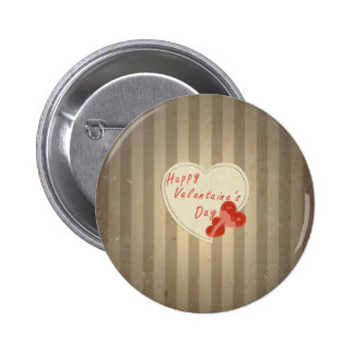 Happy Valentine s Day Retro Hearts Sepia Vintage Buttons