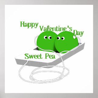 Happy Valentine s Day Sweet Pea Print