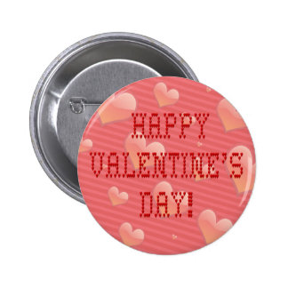 Happy Valentine s Day Tiny Heart Shaped Font Pinback Button