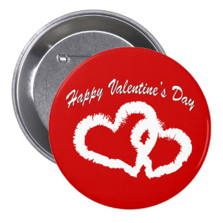 Happy Valentine s Day White Kissing Hearts Pinback Button