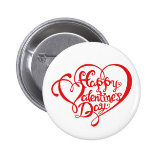 Happy Valentine s day with red hearts Pinback Button