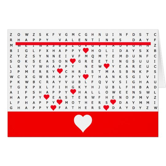 Happy Valentine Word Search Puzzle Card 2