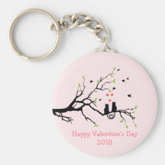 Happy Valentine's Day 2018 Two Black Cats in Love Key Ring