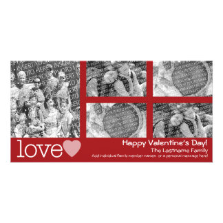 Happy Valentines Day - 5 photo collage Customized Photo Card