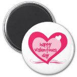 Happy Valentines Day 6 Cm Round Magnet