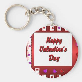 Happy Valentine's Day Basic Round Button Key Ring