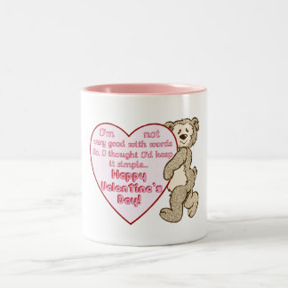 Happy Valentine's Day Bear with Heart Mug Two-Tone Mug