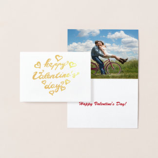 Happy Valentine's Day Calligraphy Gold foil Custom Foil Card